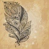 Artistically rysujący, stylizujący, plemienni graficzni piórka z ręka rysującym zawijasa doodle wzorem, Grunge tło ilustracja Obraz Royalty Free