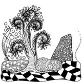 Artistically tree for coloring book.Vector. Zentangle. Royalty Free Stock Photography