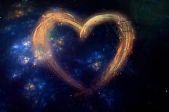 Artistiek Abstract Multicolored Hart op een Melkwegachtergrond royalty-vrije illustratie