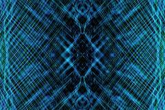 Artistiek blauw aquapatroon op zwarte Stock Foto's