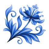 Artistiek bloemenelement, abstracte gzhel volkskunst, blauwe bloem Stock Afbeelding