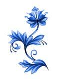 Artistiek bloemenelement, abstracte gzhel volkskunst, blauwe bloem royalty-vrije illustratie
