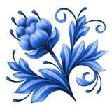 Artistiek bloemenelement, abstracte gzhel volkskunst, blauwe bloemillustratie Royalty-vrije Stock Afbeeldingen