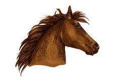 Artistiek bruin de schetsportret van het paardhoofd Stock Foto