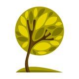 Artistiek gestileerd natuurlijk ontwerpsymbool, creatieve boom stock illustratie