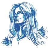 Artistiek hand-drawn beeld, zwart-wit portret van gevoelig stock illustratie