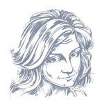Artistiek hand-drawn vectorbeeld, portret van gevoelig laakbaar meisje stock illustratie