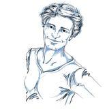 Artistiek hand-drawn vectorbeeld, zwart-wit portret vector illustratie
