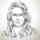Artistiek hand-drawn vectorbeeld, zwart-wit portret van royalty-vrije illustratie