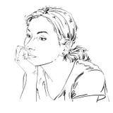Artistiek hand-drawn vectorbeeld, zwart-wit portret van DE vector illustratie