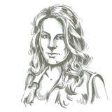Artistiek hand-drawn vectorbeeld, zwart-wit portret van DE stock illustratie