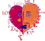 Artistiek liefdeontwerp stock illustratie