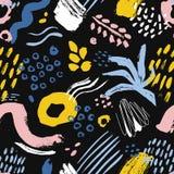 Artistiek naadloos patroon met kleurrijke verfvlekken, tekens, sporen, dalingen op zwarte achtergrond r royalty-vrije illustratie