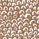 Artistiek naadloos patroon met menigte van mensen Inkttekening Stock Foto's