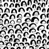 Artistiek naadloos patroon met menigte van mensen Inkttekening Royalty-vrije Stock Fotografie