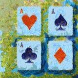 Artistiek schilderend vier Speelkaarten van de azenpook Stock Fotografie