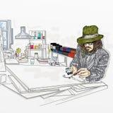 Artistiek silkscreen Johnny Depp is een acteur, die een beeld schildert vector illustratie