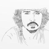 Artistiek silkscreen Johnny Depp is een acteur, directeur, musicus royalty-vrije illustratie