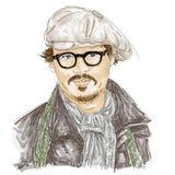 Artistiek silkscreen Johnny Depp, met glazen en hoed is een acteur, directeur, musicus royalty-vrije illustratie