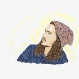 Artistiek silkscreen Johnny Deppday met wollen hoed is een acteur, directeur, musicus stock illustratie
