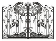 Artistiek smeedstuk, metaalgrating, met de hand gemaakte poort, royalty-vrije illustratie