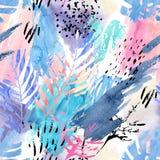 Artistiek waterverf naadloos patroon royalty-vrije illustratie