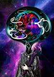 Artistieke Abstracte illustratie van een Vreemdeling met Multicolored Hoofd op een Kleurrijke Achtergrond van de Nevelmelkweg vector illustratie