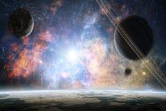 Artistieke Abstracte Planeten op een Kleurrijke Heldere Melkwegachtergrond royalty-vrije stock foto
