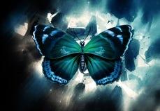 Artistieke Abstracte Waterverfvlinder op een Multicolored Nevel Ruimteachtergrond royalty-vrije illustratie