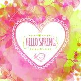 Artistieke de lente roze en groene achtergrond met waterverftextuur en bladerensporen Hand getrokken hartkader met vogel Vectorde Stock Afbeelding