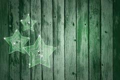 Artistieke groene houten achtergrondkerstmisdecoratie Stock Fotografie