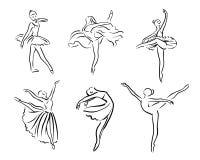 Artistieke hand getrokken beeldenreeks van theaterthema Ballerina's het dansen De ballerinadanser met tutu, stelt vrouw in ballet stock illustratie
