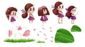 Artistieke hand getrokken inzameling van aardelementen en leuke meisjes met lang bruin haar en roze kleding stock illustratie