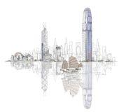 Artistieke schets van Hong Kong-baai, schetsinzameling vector illustratie