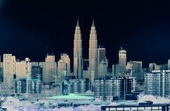 Artistieke schets van Kuala Lumpur bij nacht stock fotografie