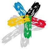 Artistieke ster met Olympische kleuren Stock Afbeelding
