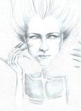 Artistieke tekening van een vrouw Stock Afbeelding