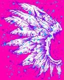 Artistieke Tekening van Purpere Vleugel op Roze Royalty-vrije Stock Afbeeldingen