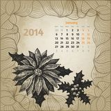 Artistieke uitstekende kalender met getrokken de hand van de inktpen Stock Afbeeldingen