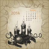 Artistieke uitstekende kalender voor December 2014 Stock Afbeelding