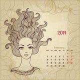 Artistieke uitstekende kalender voor Februari 2014. Stock Afbeeldingen