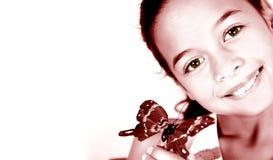 Artistieke vertolking van een jong meisje met vlinder royalty-vrije stock fotografie