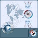 Artistieke vervormde wereldkaart en net met bewerker in futuristisch gediplomeerd apparaat op elektronische kringen Royalty-vrije Stock Afbeeldingen