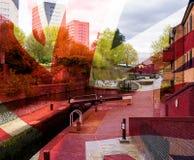 Artistieke Visie van het Kanaal van Birmingham en Fazeley-dat met Uni wordt gemengd Royalty-vrije Stock Fotografie