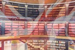 Artistieke Visie van Moderne die Bibliotheek met Unie Jack Britis wordt gemengd Stock Afbeeldingen