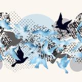 Artistieke waterverfachtergrond: vliegende vogelsilhouetten, vloeibare die vormen met minimaal worden gevuld, grunge, krabbeltext royalty-vrije illustratie