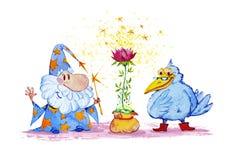 Artistieke waterverfhand getrokken magische illustratie met sterren, tovenaar, blauwe kraai en roze bloem royalty-vrije illustratie