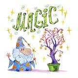 Artistieke waterverfhand getrokken magische illustratie met sterren, tovenaar en magische boom op witte achtergrond royalty-vrije illustratie