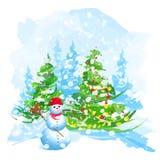 Artistieke waterverfKerstboom en sneeuwman Stock Afbeeldingen