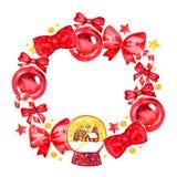 Artistieke waterverfkerstmis en nieuwe jaardecoratie om kroon die op witte achtergrond wordt geïsoleerd Goed voor Kerstmisontwerp Stock Afbeelding